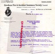 75-PARIS- RARE LETTRE GRESHAM FIRE & ACCIDENT INSURANCE SOCIETY-ST MILDRED'S HOUSE LONDRES-LONDON-58 RUE VICTOIRE-1917- - Banco & Caja De Ahorros
