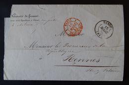 Lettre Enveloppe - Année 1852 - Franchise Encre Rouge - 1849-1876: Classic Period