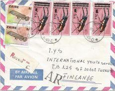 Zaire DRC RDC Congo 1987 Bunia 25k Beetle Overprint Michel 542 Freshwater Fish Registered AR Avis De Reception Cover - Zaïre