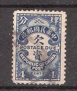 CHINA / Chine , 1913 Postage Due / Taxe , Yvert N° 44 A, 4 C Bleu  Obl, TB - China