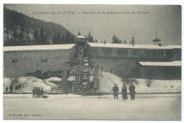 CPA ENVIRONS DE NANTUA, RECOLTE DE LA GLACE AU LAC DE SYLANS, AIN 01 - Nantua