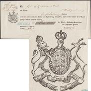 Wurtemberg 1850. Récépissé D'envoi Assuré Réalisé à Rotweil. Blason Du Royaume :  Trois Lions Et Cerf - Enveloppes