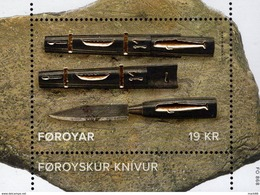 Faroe Islands - 2017 - SEPAC - Faroese Knife - Mint Souvenir Sheet With Gold Foil Intaglio Imprint - Faroe Islands