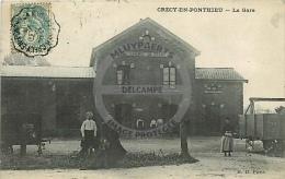 /! 1648 - CPA/CPSM - 80 : Crécy En Ponthieu : La Gare - Crecy En Ponthieu