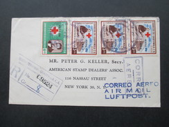 Guatemala Aufdruck Mayo De 1960 Rotes Kreuz. Luftpost. R-Brief C9524. Kurt Jihn Weiss- US Stamp Dealers' Assoc. - Guatemala