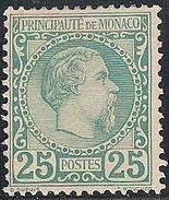 MONACO 1855 : 25 Cent Verde N.6  MH V.F. - Monaco