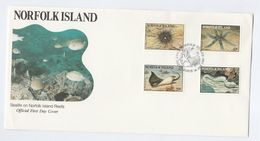 1986 NORFOLK ISLAND FDC Sealife FISH CORAL Cover Stamps - Fishes