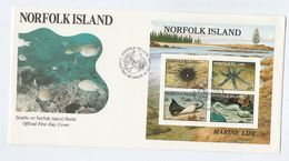 1986 NORFOLK ISLAND FDC Miniature Sheet FISH CORAL Sealife Cover Stamps - Fishes