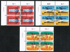 .U.I.T. LA SERIE BLOCS DE 4 OBLITERES 1er/J.1967 C/.S.B.K. Nr:11/13. Y&TELLIER Nr:450/452. MICHEL Nr:11/13. - Officials