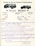 34.HERAULT.CETTE.SETE.TRANSPORT DE VINS PAR CAMIONS & CAMIONS CITERNE.JEAN MIRO 52 QUAI DU BOSC. - Transports