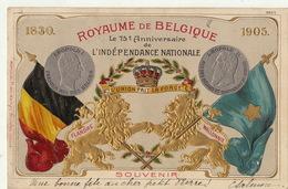 Gaufrée Royaume De Belgique 75 èm Anniversaire De L'indépendance Nationale Belge - België