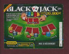 BLACK JACK  - 1 Ticket De Jeu De Grattage De La F.D.J..- Spécimen Non Gratté - 2 Scannes. Face Et Dos. - Billets De Loterie