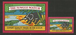 UdSSR Russia 2 Old Matchbox Labels - The Jugle Match - Matchbox Labels