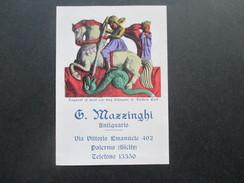 Alte Visitenkarte / Werbung G. Mazzinghi Antiquario. Sizilien. Klappkarte / Foto. Entree Via Vittorio Emanuele 492 - Visitekaartjes