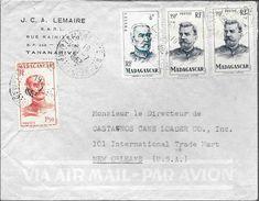J.C.A. LEMAIRE S.A.R.L. RUE RAINITOVO TANANARIVE ENVELOPPE CIRCULEE 1953 A NEW ORLEANS  U.S.A. 3 COLOURS FRANKING - Madagascar (1889-1960)