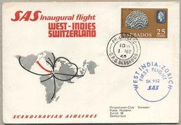 1969 Barbados, Firs Fly Erste Flug West India - Zurich SAS Inaugural Flight - Barbados (1966-...)