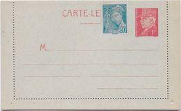 France Entiers Postaux -Type Pétain 1 Fr Rouge - Carte-lettre - Cartes-lettres