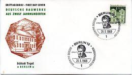 """WB Schmuck-FDC  Freimarken """"Deutsche Bauwerke Aus 12 Jahrhunderten"""", Mi 284 ESST BERLIN 12  26.3.1969 - FDC: Sobres"""