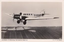 Lufthansa Junkers 3-Motrig Tri-motor German Propeller Plane C1930s Vintage Postcard - 1919-1938: Between Wars