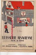 75- PARIS- RARE CARTE MENU BRASSERIE ALSACIENNE AUX 3 EPIS-110 BD. DE CLICHY-18 AVRIL 1935- IMPRIMERIE ASSELINEAU - Menus