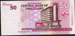 SWAZILAND P38 50 EMALANGENI 2010  UNC. - Swaziland