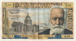 France Billede 5 Francs Du  2 11 1961 G Juste Un Pli Central (et Un Infime A Gauche ) Pas De Trou Ref Fayet 56/9 - 5 NF 1959-1965 ''Victor Hugo''
