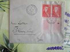 Lettre De 1950 Avec 2 Tp 847cachet Provisoire 1ere Expo Philatelique La Reole - Postmark Collection (Covers)