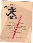 75-PARIS-RARE MENU 20 OCT. 1937- GRAND HOTEL CLARIDGE-BANQUET CLOTURE 1ER CONGRES FABRICANTS CHAUSSURES-GIGNOUX PDT - Menus