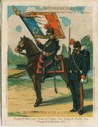 Militaria - Chromo - Le Nouvel Etendard Du 1er Régt De Pontonniers - Batailles Inscrites à L'Etendard 1795.1801.1809.181 - Drapeaux