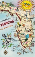 Florida Greetings With Map Of The Sunshine State - Greetings From...