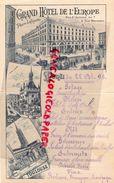 31- TOULOUSE- RARE MENU GRAND HOTEL DE L' EUROPE-PLACE LAFAYETTE-RUE ST ANTOINE-RUE MONTARDY-22 OCTOBRE 1894 SNCF - Menus
