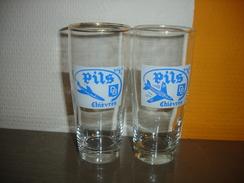 LOT 2 ANCIENS VERRES A BIERE PILS - BRASSERIE DB ( CHIEVRES ( MONS ATH )) - EMAIL AVION ( BASE MILITAIRE ) - Glasses