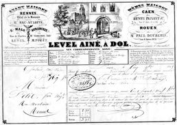 FACTURE  LEVEL AINE Rennes Avranches Caen St Malo Rouen Dol *TIMBRE ROYAL Verso ANNEE 1846 296 - Transports