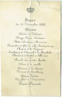 Menu Avec Couronne. Diner 1888. Huitres Zélande, Chaufoid D'Alouettes En Belle-Vue, Bécasse à La Monaco...... - Menus