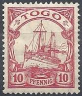 Togo, 1909 Kaiser's Yacht, 10pf Carmine  F.1  # Michel 22 - Scott 22 - Yvert 21  MLH - Colonie: Togo