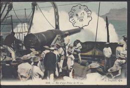 """ALGERIE - Beau Cachet Convoyeur De Ligne Tlemcen A Oran Du 23 Juillet 1908 - Cpa """"Tir D'une Pièce De 27 Cm"""" B/TB - - Algérie (1924-1962)"""