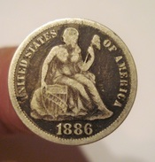 USA DIME 1886 SEATED LIBERTY. EARLY AMERICAN COIN. ETATS UNIS. - Federal Issues