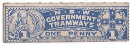 (I.B) Australia - NSW Government Tramways : Parcel Ticket 1d - Australia