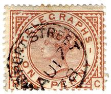 (I.B) QV Telegraphs : 1d Red-Brown (plate 1) - Non Classés