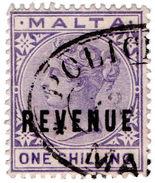 (I.B) Malta Revenue : Duty Stamp 1/- (Police Office) - Malta (...-1964)
