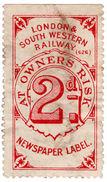 (I.B) London & South Western Railway : Newspaper Label 2d - 1840-1901 (Victoria)