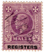 (I.B) Malta Revenue : Registers ½d - Malta (...-1964)