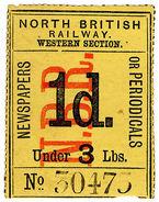 (I.B) North British Railway (Western Section) : Newspaper Parcel 1d - 1840-1901 (Victoria)