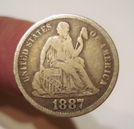 USA DIME 1887 S. SEATED LIBERTY. EARLY AMERICAN COIN. ETATS UNIS. - Federal Issues