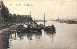 Engis - La Meuse Et Les Usines (péniches, Mâts, Edit. Trienon) - Engis