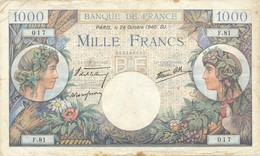 G501 - Billet De 1000 Francs - Commerce Et Industrie - 24 Octobre 1940 - 1871-1952 Circulated During XXth