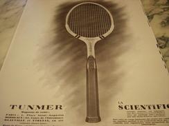 ANCIENNE AFFICHE PUBLICITE DE RAQUETTE TENNIS TUNMER  1927 - Tennis