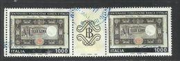 ITALIA REPUBBLICA ITALY REPUBLIC 1993 BANCA D'ITALIA BANK PRIMA BANCONOTA DA LIRE 1000 STRISCIA USATA USED OBLITERE' - 1946-.. Republiek