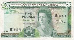 BILLETE DE GIBRALTAR DE 5 POUNDS DEL AÑO 1988  (BANKNOTE-BANK NOTE) - Gibraltar