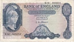 BILLETE DE REINO UNIDO DE 5 POUNDS DEL AÑO 1957  (BANK NOTE) - 1952-… : Elizabeth II